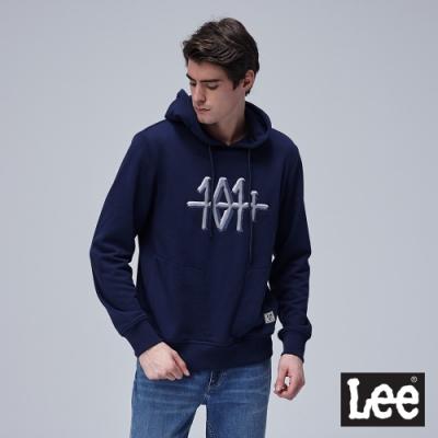 Lee 連帽厚T 101+刺繡拼接印花 男 深藍