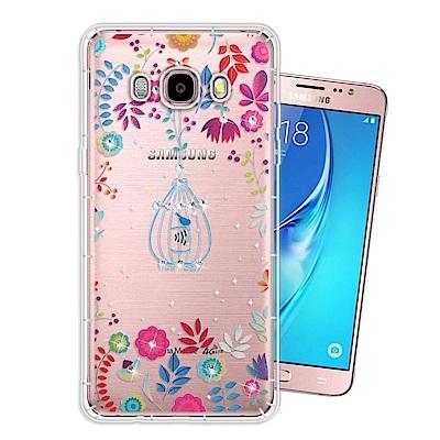 Samsung Galaxy J5(2016) 奧地利水晶彩繪空壓手機殼(鳥羽花萃)