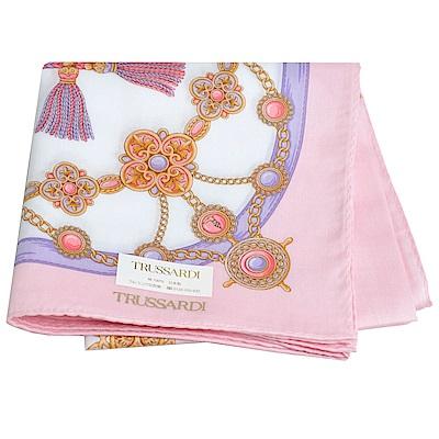 TRUSSARDI 優雅品牌流蘇串鍊圖騰LOGO大帕領巾(粉紅)