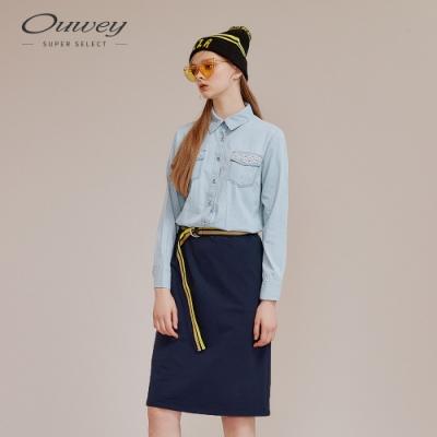 OUWEY歐薇 休閒牛仔拼接針織裙襬洋裝(藍)