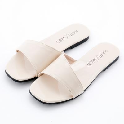 River&Moon光澤素雅 極簡不對襯設計平底拖鞋 米