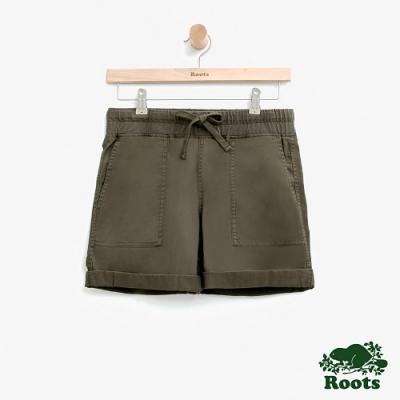 女裝Roots 平織口袋短褲-綠