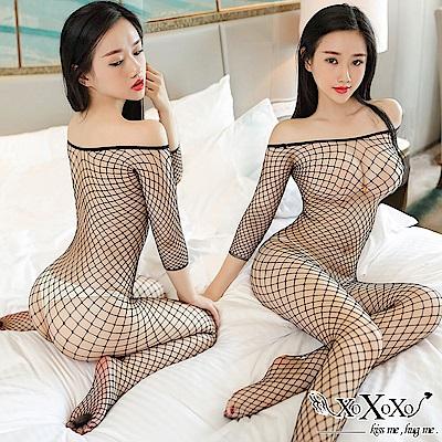 貓裝網衣 織愛網戀大網格開襠連身貓裝 2件組 XOXOXO
