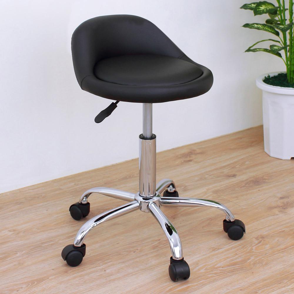 E-Style 高級皮革椅面(活動輪)工作椅/升降椅/旋轉椅/美髮椅/活動椅-黑色