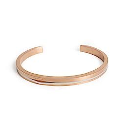agnes b. 經典雙色C型白鋼女手環(玫瑰金)