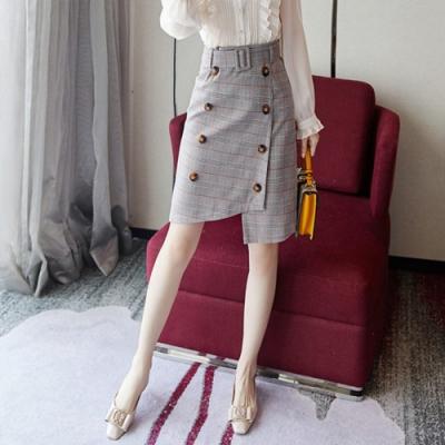 設計所在Lady-修身雙排扣格子包臀一步中裙(S-XL可選)