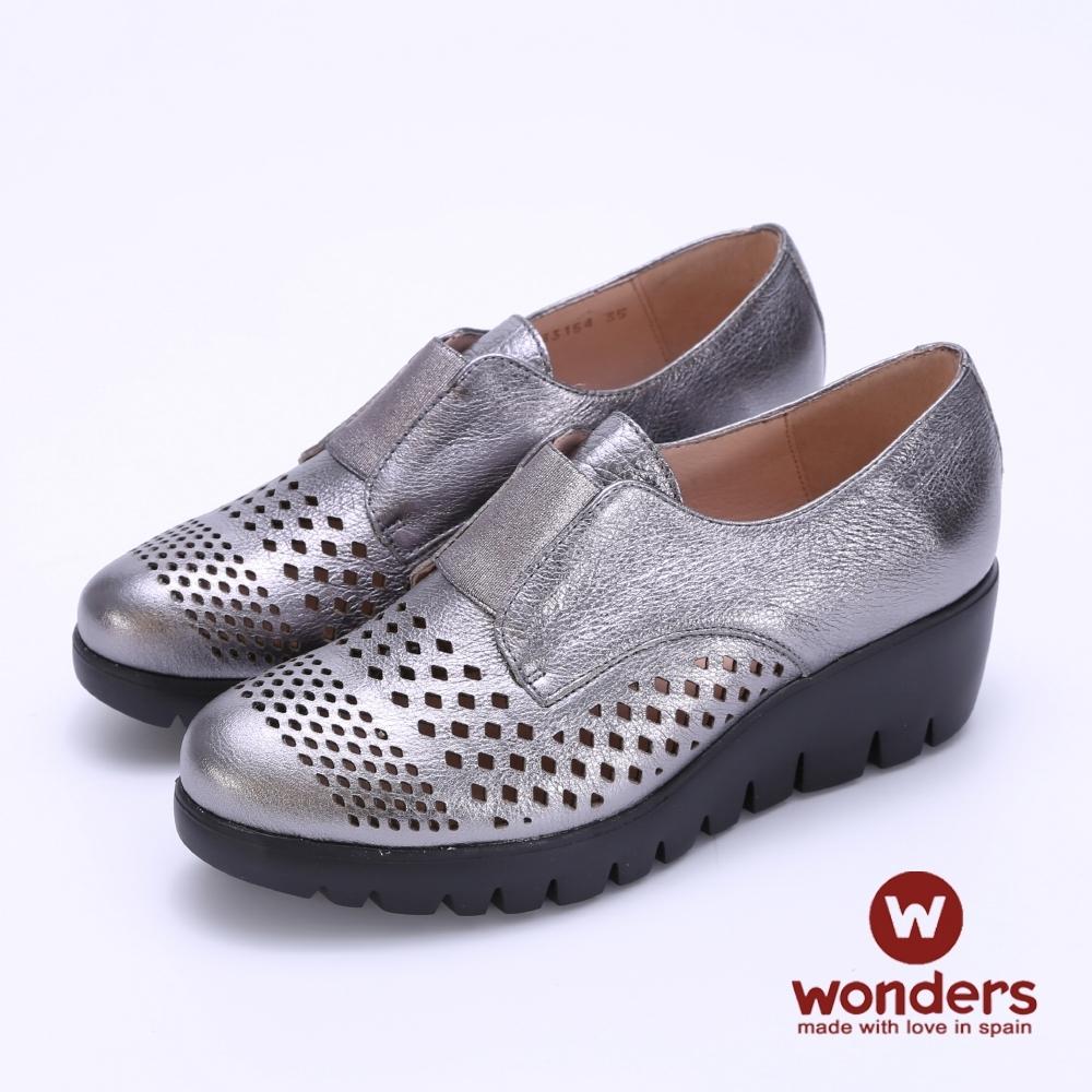 WONDERS- FLY系列 真皮鏤空輕量厚底鞋 -銀色