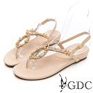 GDC-田園碎花水鑽真皮繽紛夏日平底涼鞋-米色