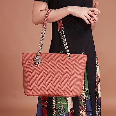 Maria Carla手提肩背包-羊皮V線條托特包_完美格調、迷漾輕時尚系列(鮭魚粉)