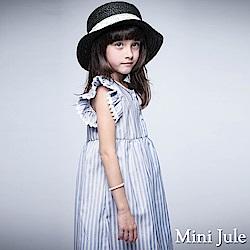 Mini Jule 洋裝 條紋排釦蕾絲荷葉袖洋裝(藍)