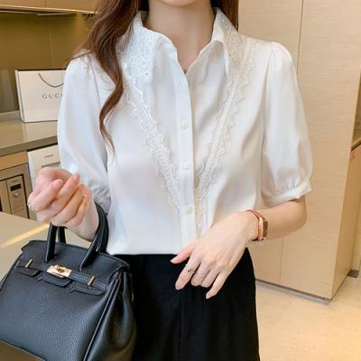 低調華麗蕾絲花邊衣領純色襯衫S-XL(共二色)-白色戀人