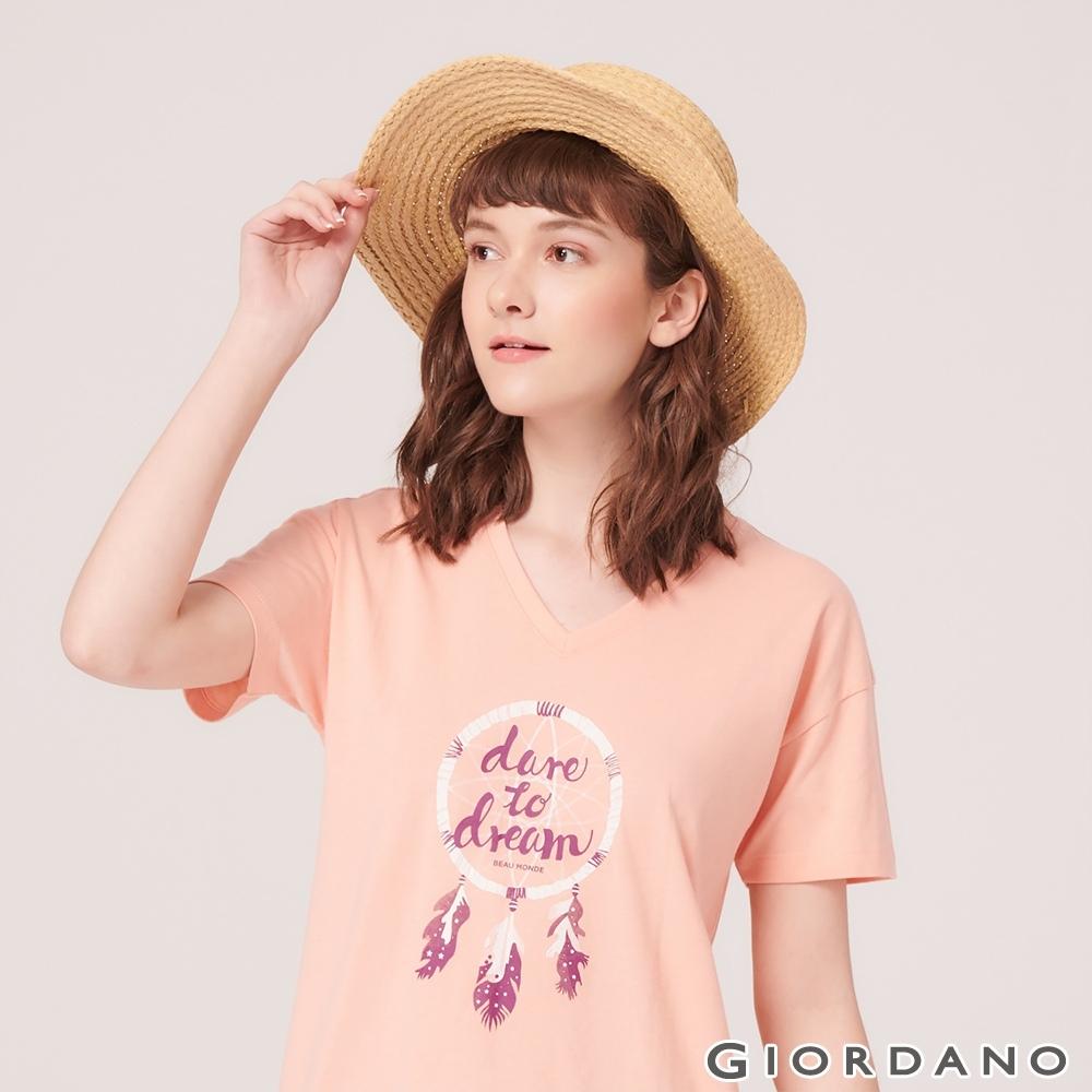 GIORDANO 女裝V領寬版印花短袖T恤- 21 琥珀桃子橘