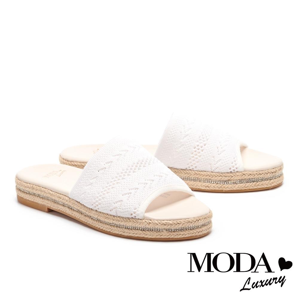 拖鞋 MODA Luxury 簡約民俗風飛織草編厚底拖鞋-白