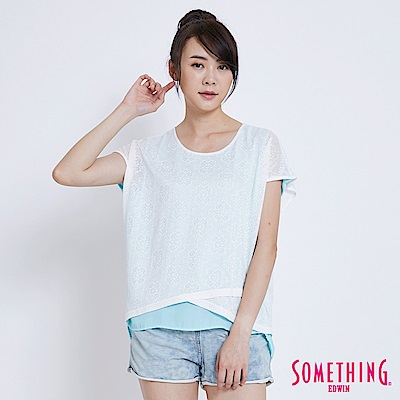 SOMETHING 花紋拼接短袖T恤-女-白色