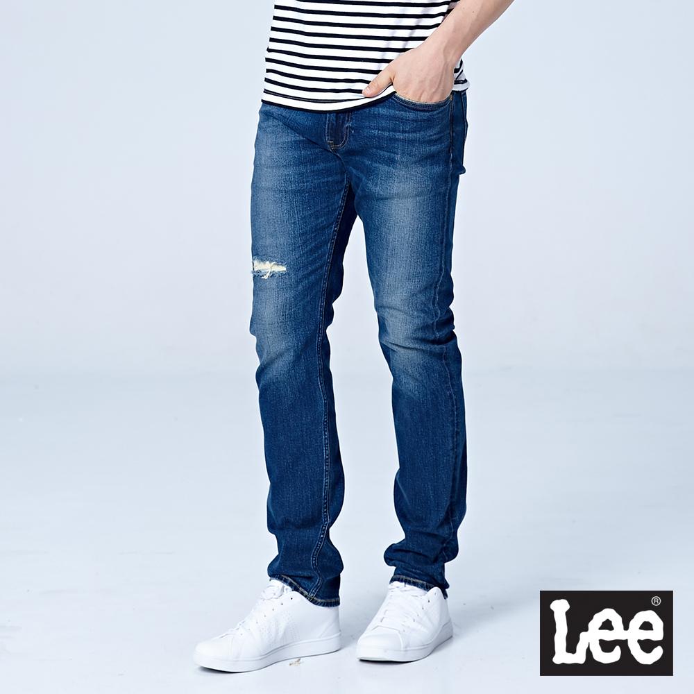 Lee 707中腰合身小直筒牛仔褲/RG-中藍色