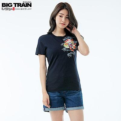BigTrain 和風元氣貓短袖女T-女-丈青