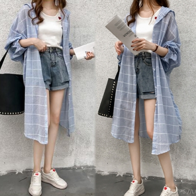 【韓國K.W.】韓國設計率性格調格紋薄外套