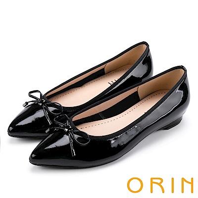 ORIN 典雅輕熟OL 牛皮百搭尖頭低跟鞋-鏡黑