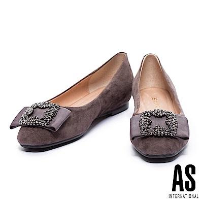 平底鞋 AS 優雅時尚寬帶造型水鑽飾釦點綴羊麂皮內增高平底鞋-灰