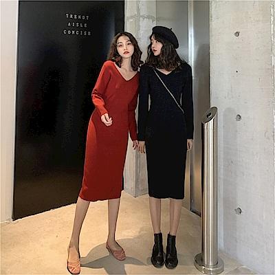 DABI 韓國風內搭v領修身顯瘦簡約針織長袖洋裝