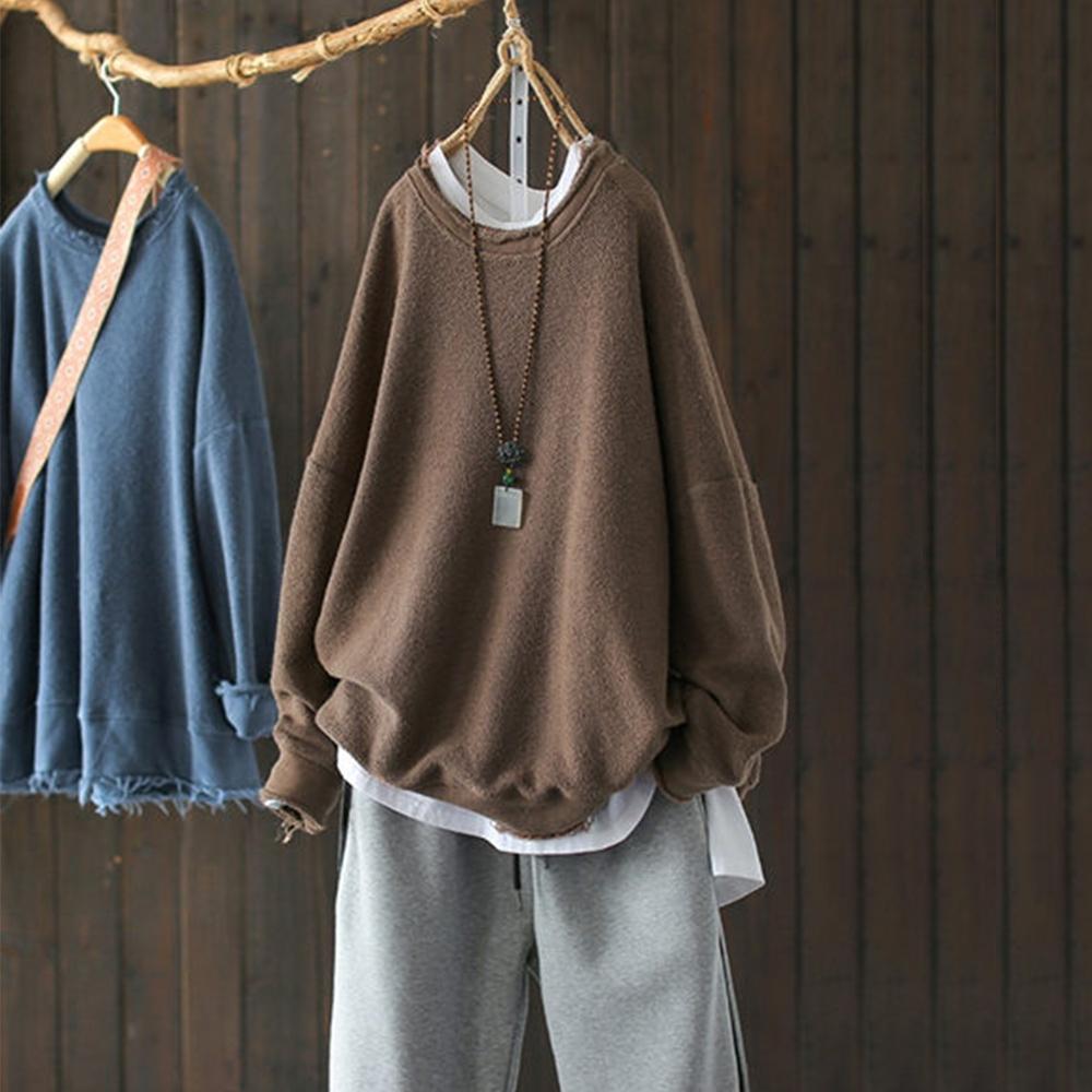 單色毛圈棉質毛邊圓領衛衣上衣-設計所在
