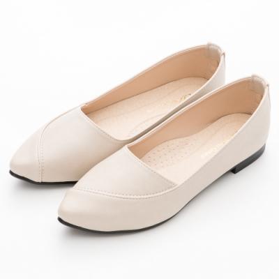 River&Moon平底鞋 台灣製超Q軟釋壓平底尖頭鞋 米杏