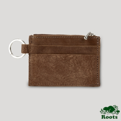 Roots卡夾零錢鑰匙包-棕色