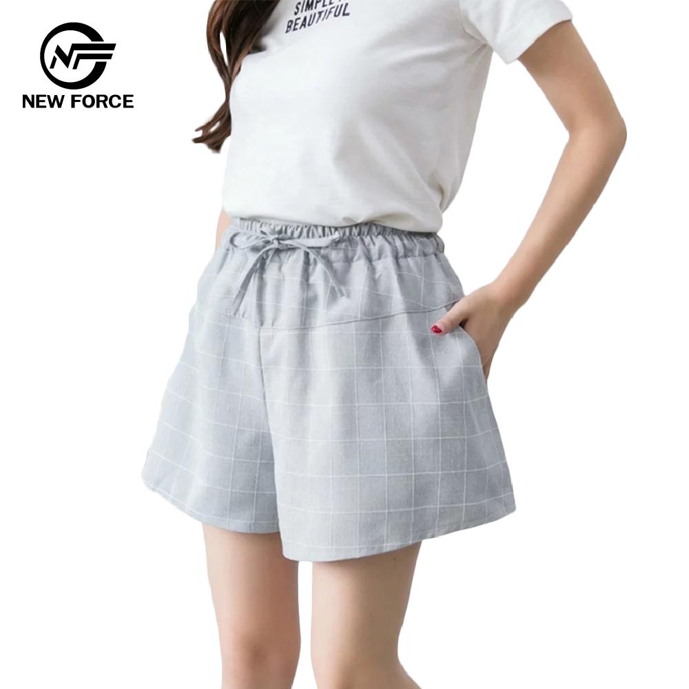 NEW FORCE 時尚休閒寬腿顯瘦格子褲子-淺灰 @ Y!購物