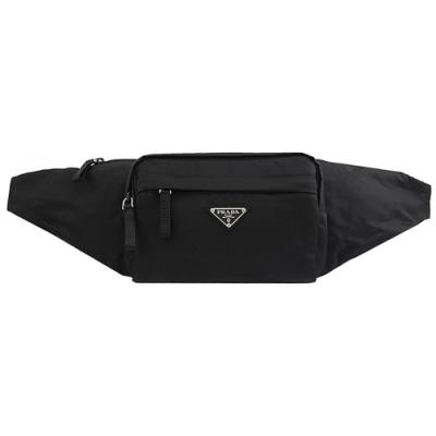 PRADA 三角LOGO經典尼龍拉鍊胸口包/腰包(黑)