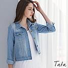 短版淺色牛仔外套 TATA