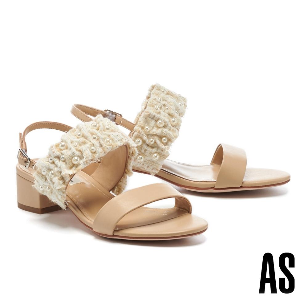 涼鞋 AS 浪漫風情毛呢珍珠羊皮一字粗低跟涼鞋-米