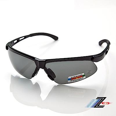 【Z-POLS】舒適運動型 質感亮黑框搭配Polarized頂級偏光運動眼鏡