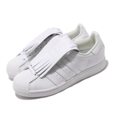 adidas 休閒鞋 Superstar FR 復古 低筒 女鞋 愛迪達 三葉草 流蘇 貝殼頭 皮革 穿搭 白 FW8154