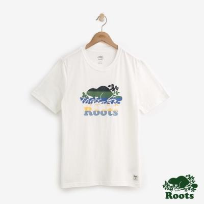 男裝Roots 多彩海狸短袖T恤-白
