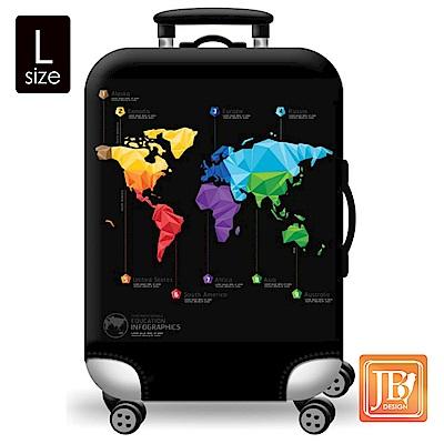 繽紛行李箱套-世界地圖L
