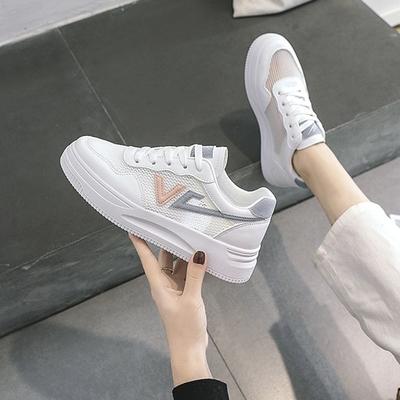 LN  現+預 韓版透氣網面厚底小白鞋(休閒鞋/平板鞋)