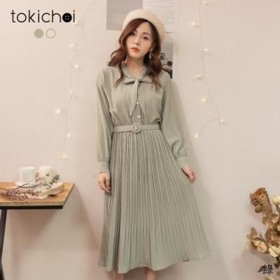 東京著衣 甜美氣質領結附腰帶百褶長洋裝