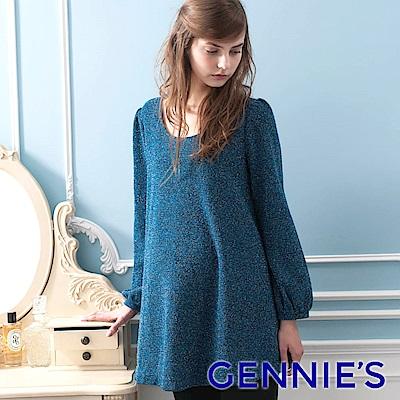 Gennies專櫃-優雅簡約金蔥圓領長版上衣 (藍)T3820