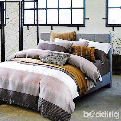 BEDDING-100%天絲萊賽爾-特大6x7薄床包 鋪棉兩用被套四件組-時尚先生-咖