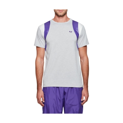 ASICS 拼接色塊短袖上衣 男 2191A163-020(灰紫)