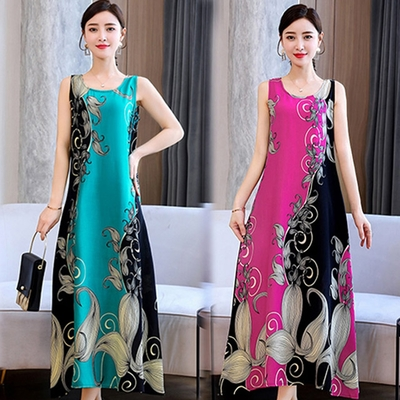 [韓國K.W.]絲棉質感美麗動人長洋裝