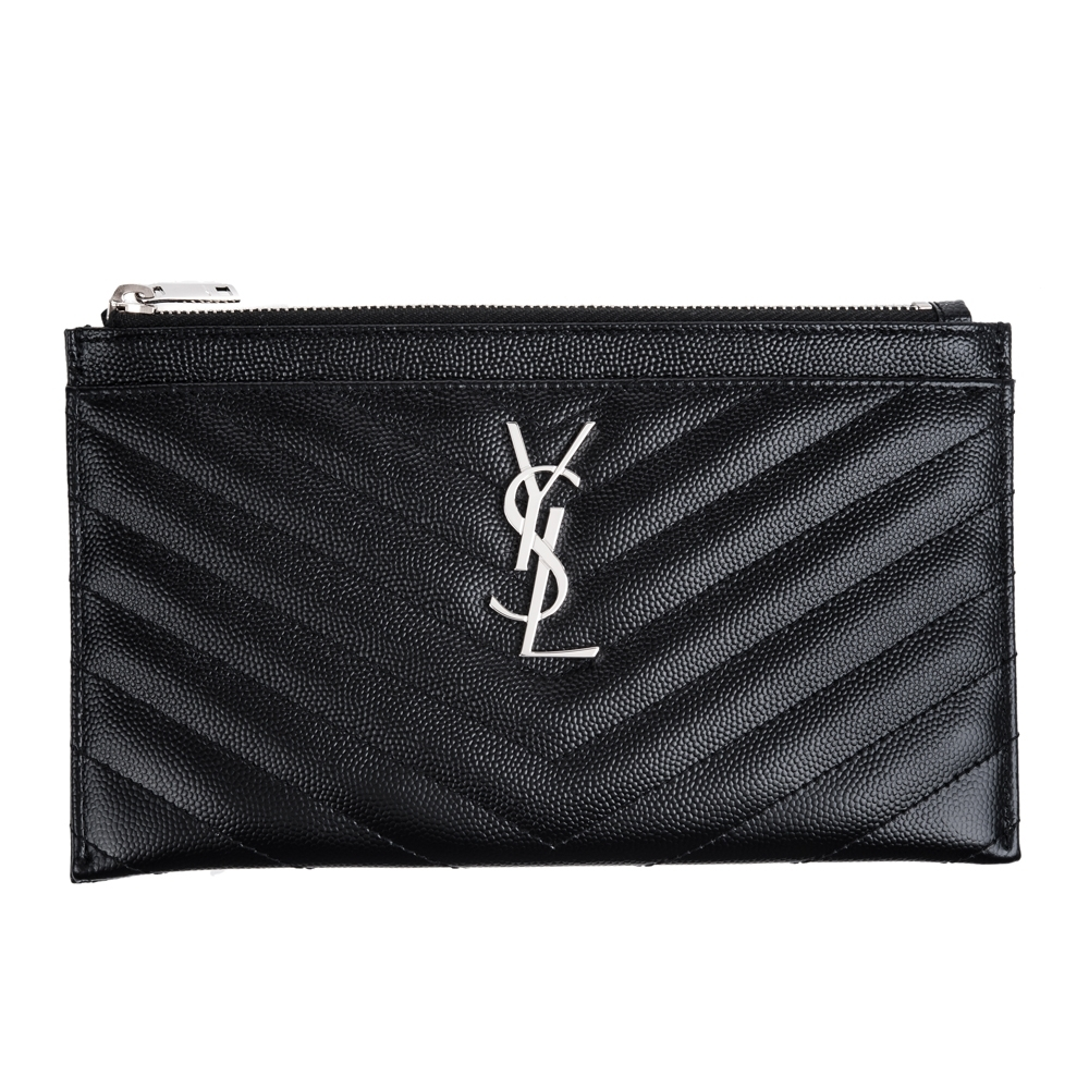 YSL 經典MONOGRAM系列V字縫線魚子醬牛皮銀釦LOGO拉鍊手拿包 (黑色)