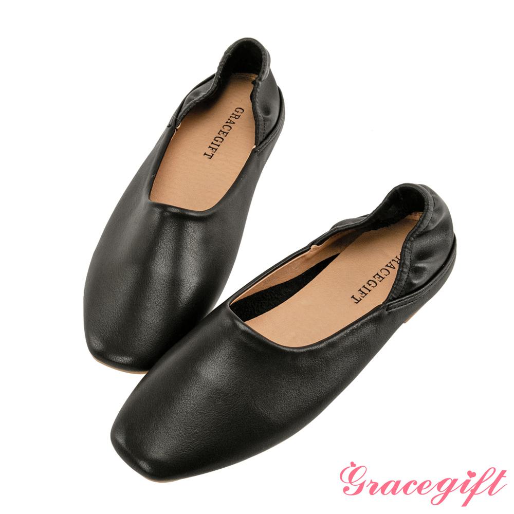 Grace gift-柔軟素面平底便鞋 黑