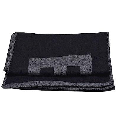 CHANEL 經典品牌字母織花絲綢混開士米披肩/圍巾(黑X灰)