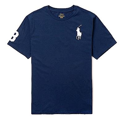 Polo Rlaph Lauren 經典電繡大馬圓領素面短袖T恤(青年款)-深藍色