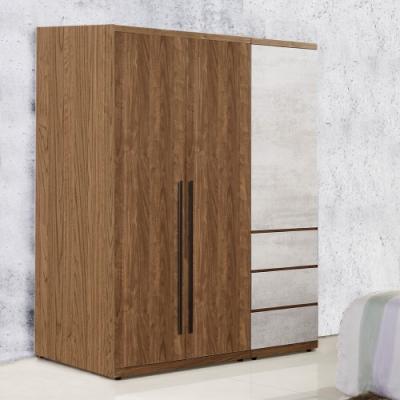 D&T 德泰傢俱 DINO清水模風格4尺單吊+三抽衣櫃-125x57x202cm