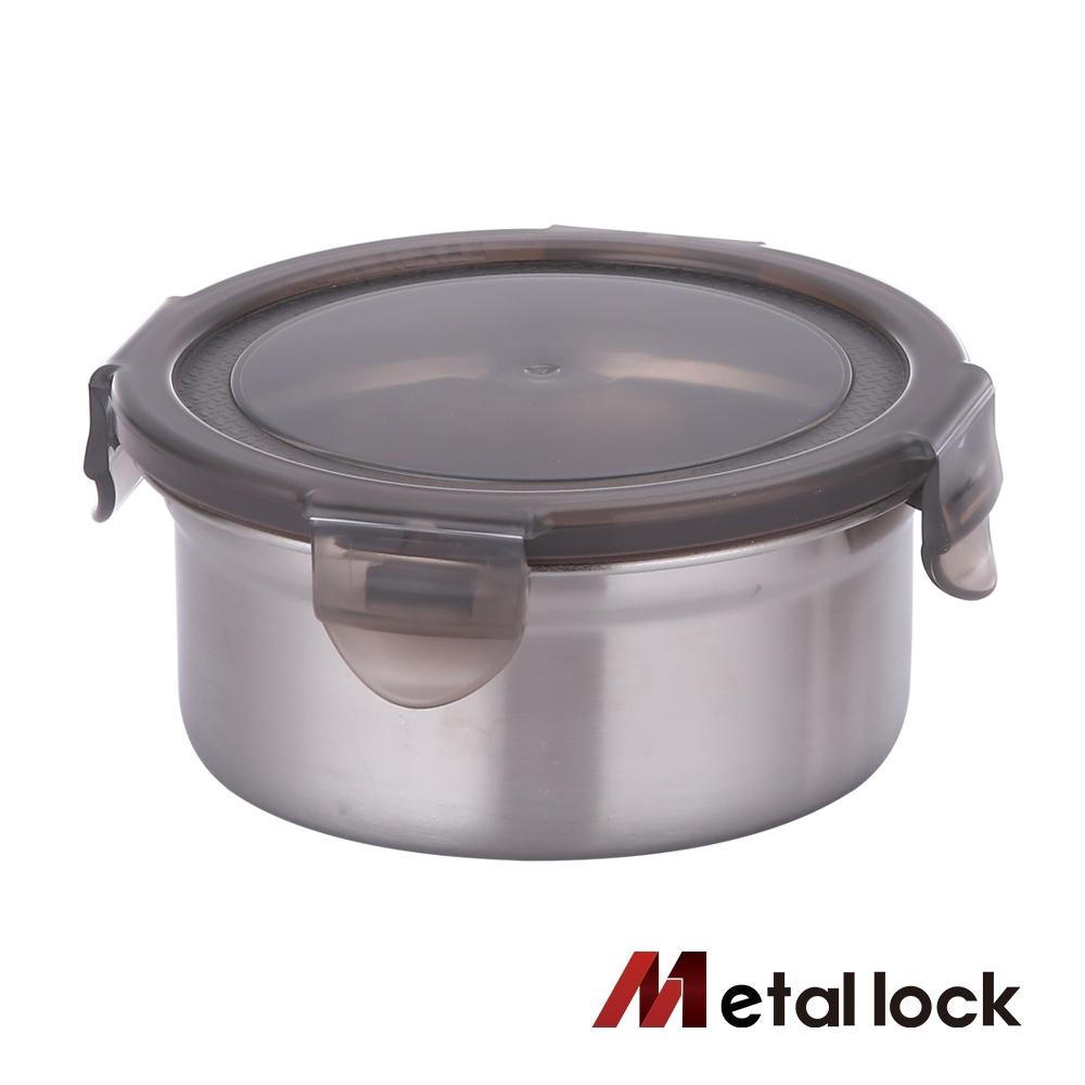 韓國Metal lock圓形不鏽鋼保鮮盒460ml.露營野餐不銹鋼金屬環保收納廚房食物醃漬