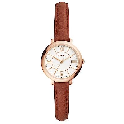 FOSSIL Jacqueline優雅時尚真皮手錶(ES4412)-玫瑰金框/27mm
