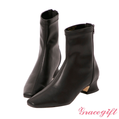 Grace gift-斜車線特殊中跟短靴 黑