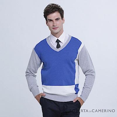 ROBERTA諾貝達 台灣製 舒適保暖 純美麗諾羊毛衣 藍白